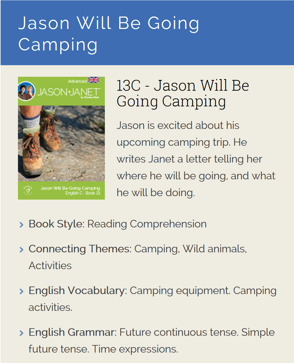 Jason Will Be Going Camping - ESL eBook