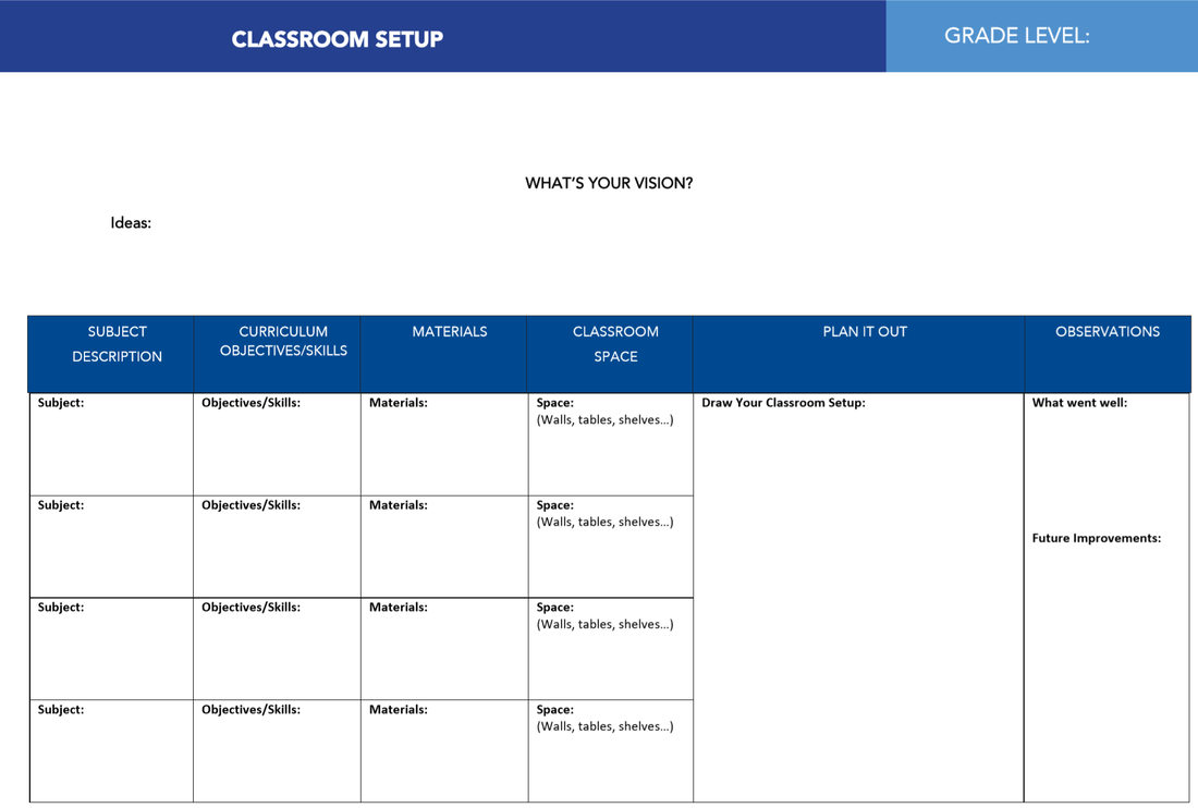 Planning Template for Classroom Setup