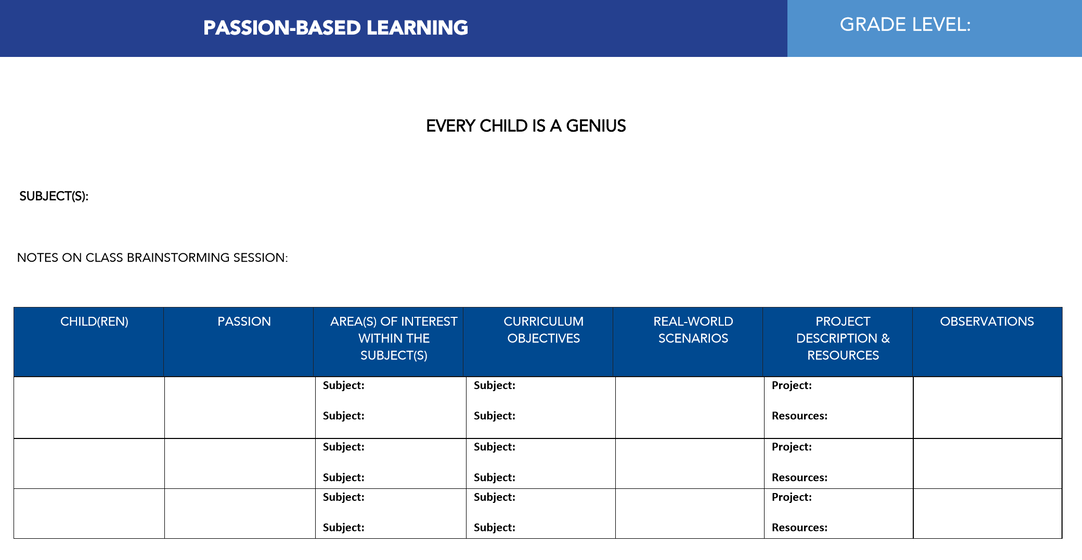 a planning template for passion based learning education by shala