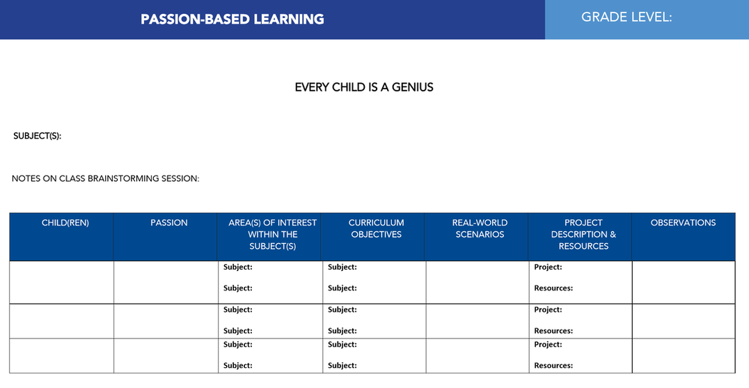 Passion-Based Learning Planner