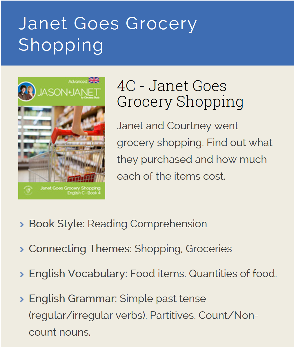 Janet Goes Grocery Shopping - ESL eBook