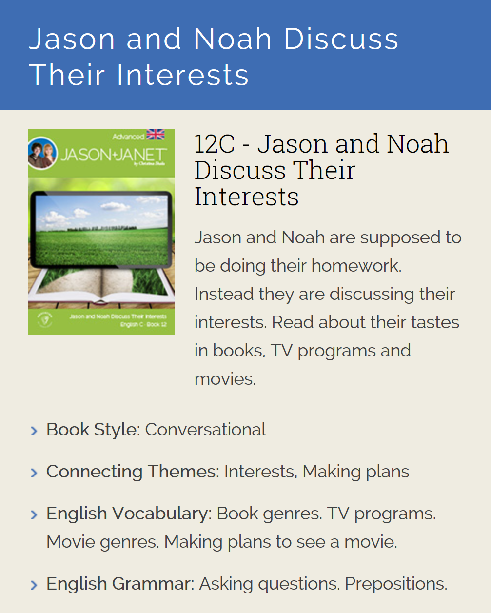 Jason and Noah Discuss Their Interests - ESL eBook