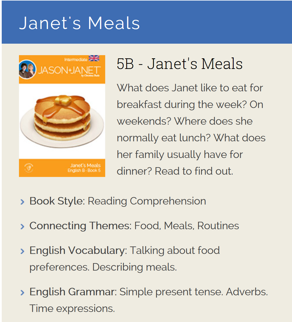 Janet's Meals - English eBook