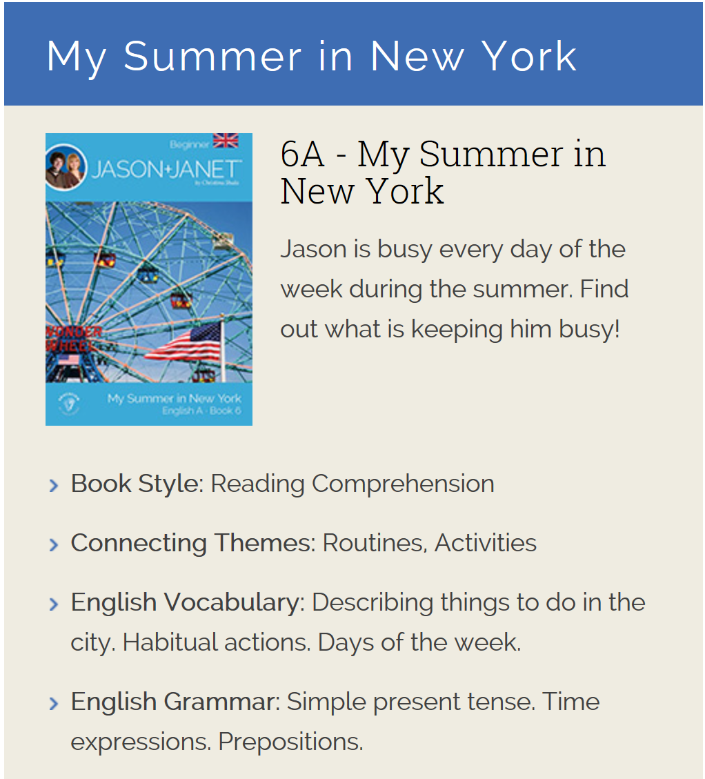 My Summer in New York - ESL eBook