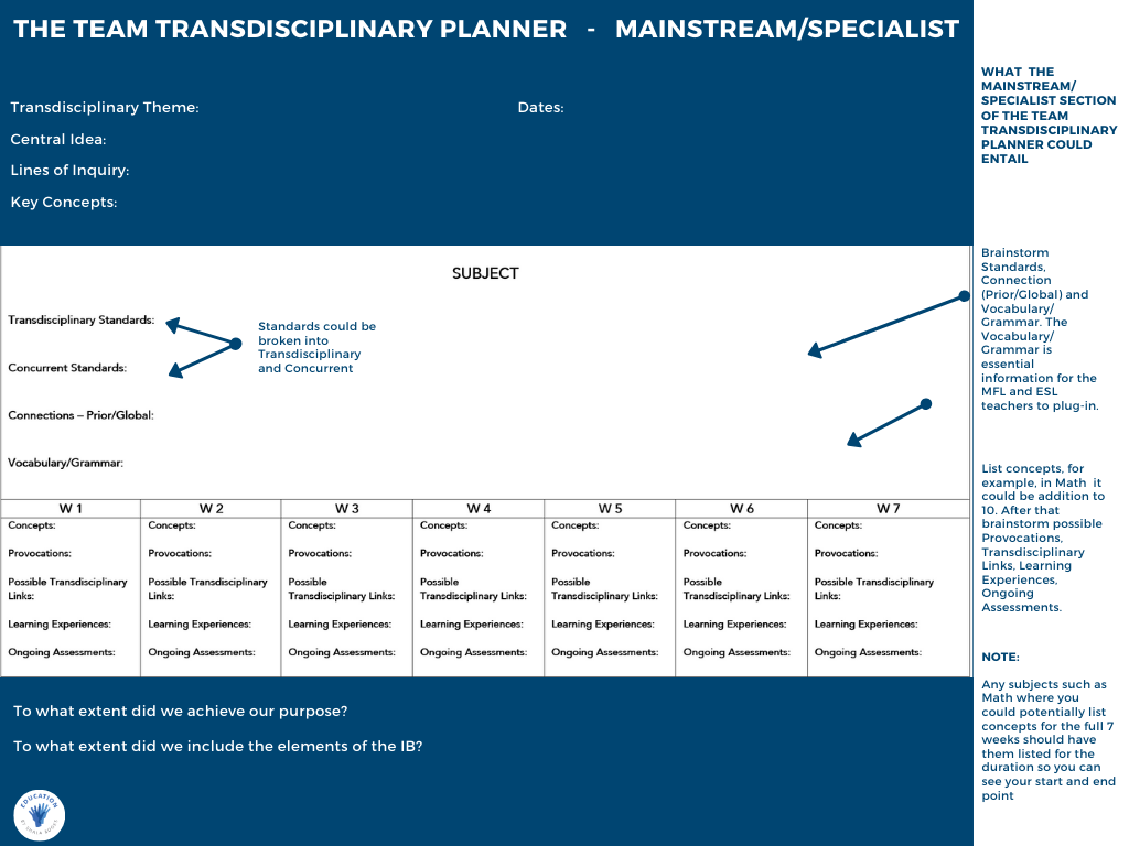 The Team Transdisciplinary Planner - Mainstream/Specialist