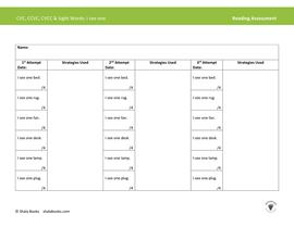 CVC, CCVC, CVCC & Sight Words Reading Assessment