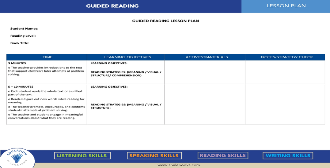 Guided Reading - Lesson Plan