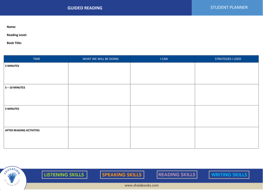 Guided Reading Student Planner
