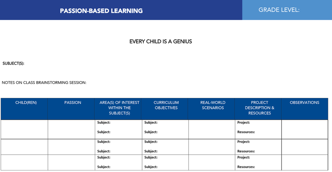 A Planning Template for Passion-Based Learning