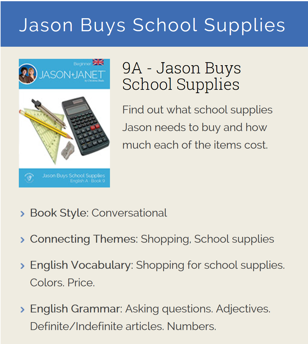 Jason Buys School Supplies - ESL eBook