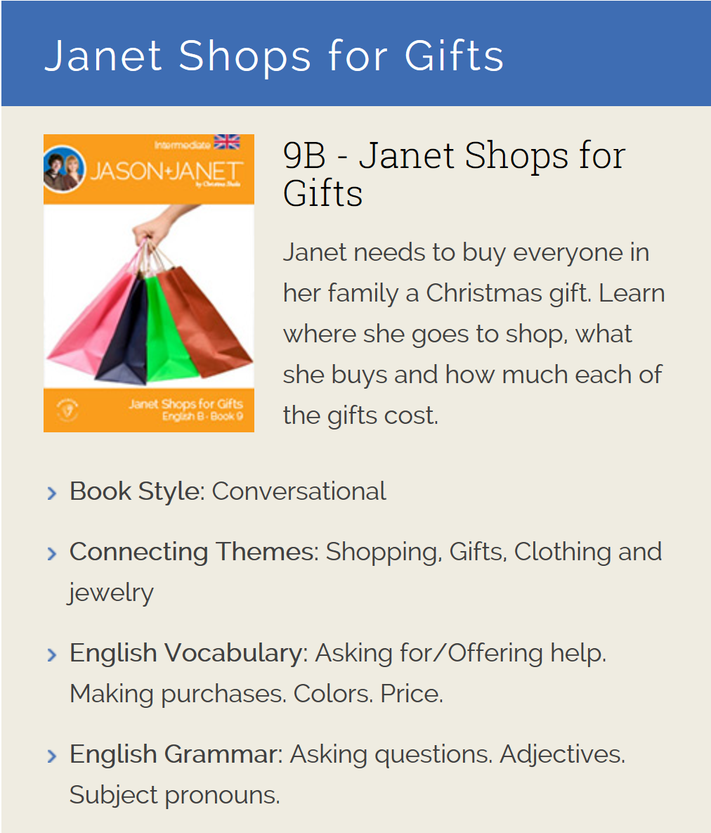 Janet Shops for Gifts - English eBook