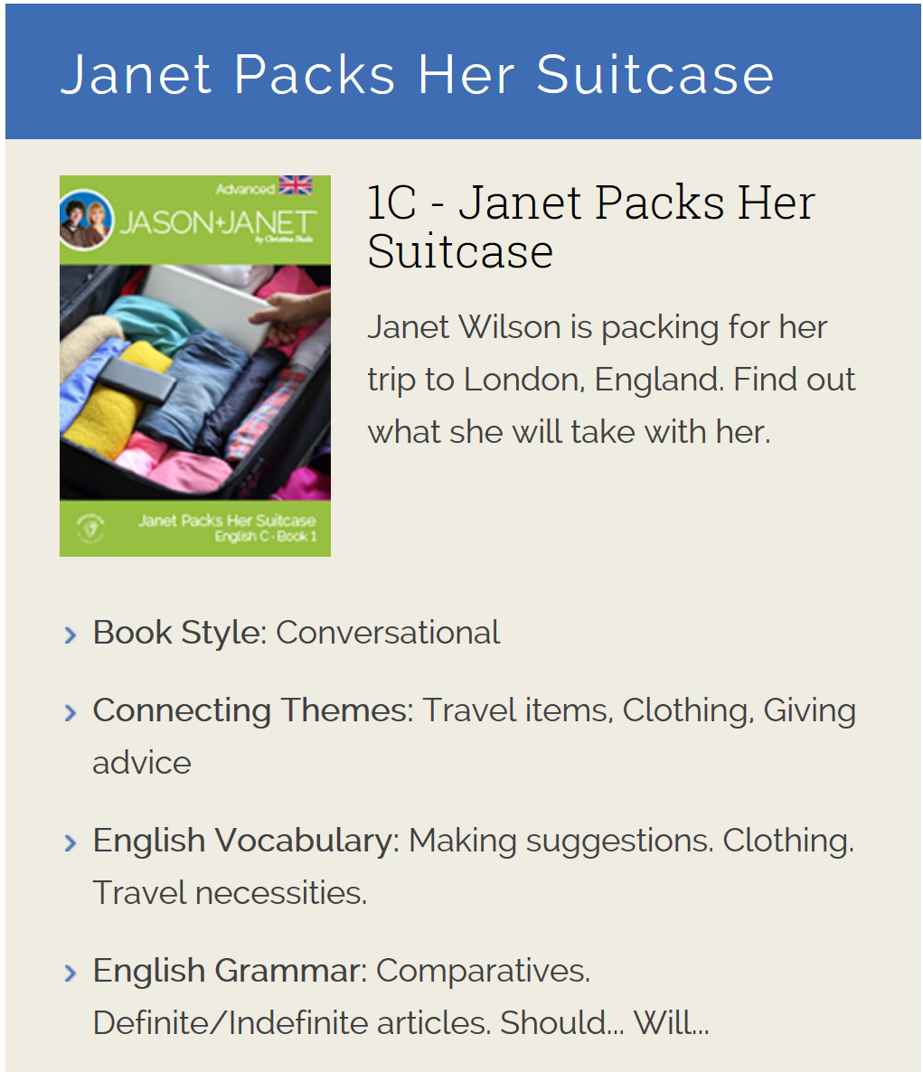 Janet Packs Her Suitcase - ESL eBook