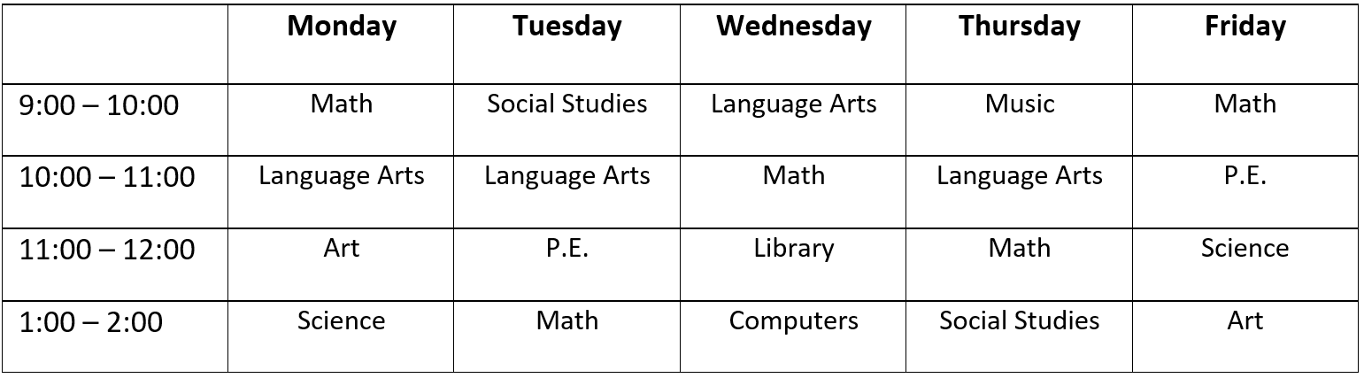 Traditional School Timetable