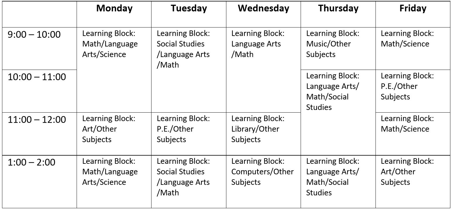 Transdisciplinary School Timetable